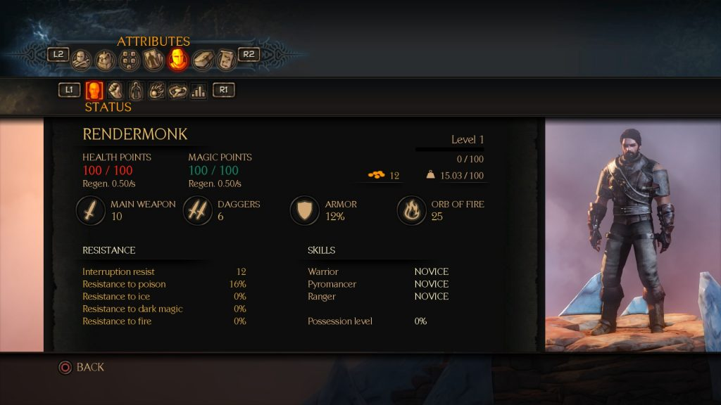 Bound By Flame Character Menu