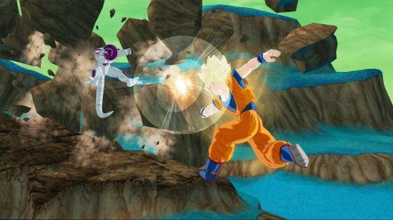Goku attacks Freeza