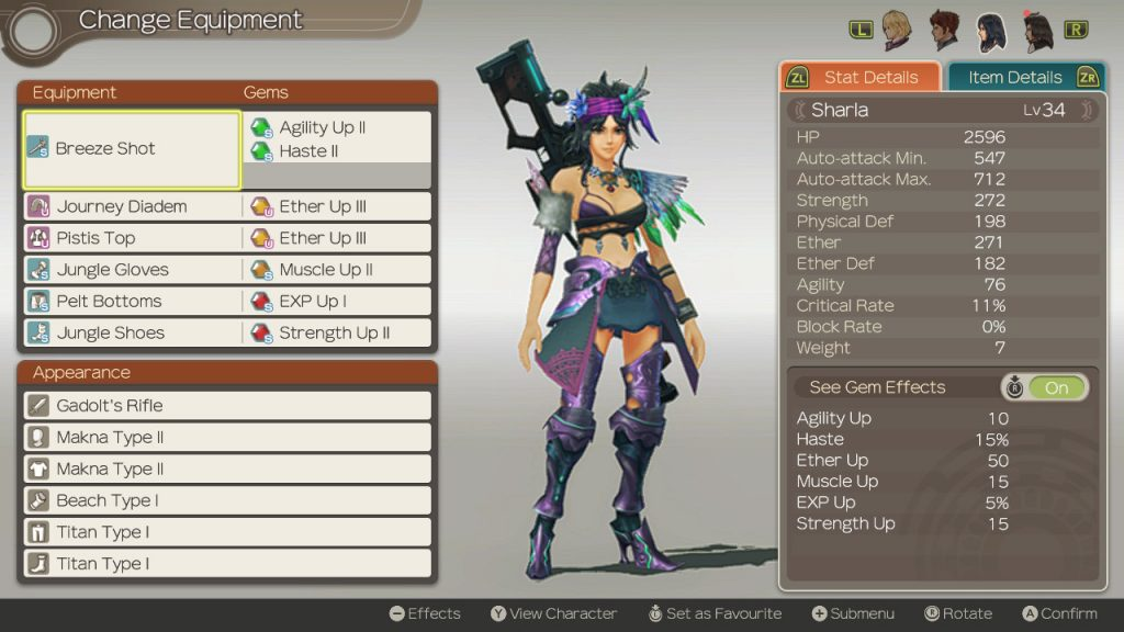Xenoblade Chronicles: Definitive Edition Sharla Equipment Screen